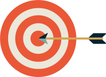 arrow striking target